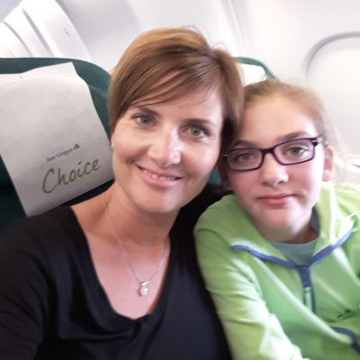 Smiling woman and Child on Aer Lingus Flight