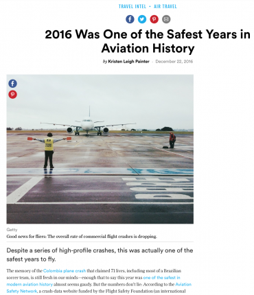 """2016 Was One of the Safest Years for Air Travel"": Condé Nast"