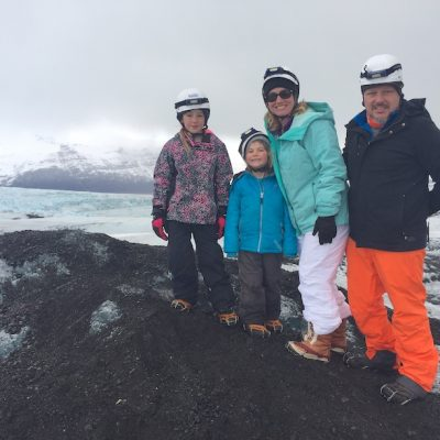 Family hiking in Iceland after parent took fear fo flying course with Dr. Ian Shulman.